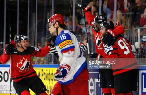 Canada's Wayne Simmonds and Ryan O'Reilly celebrate a goal during the IIHF Men's World Championship Ice Hockey semifinal match between Canada and...