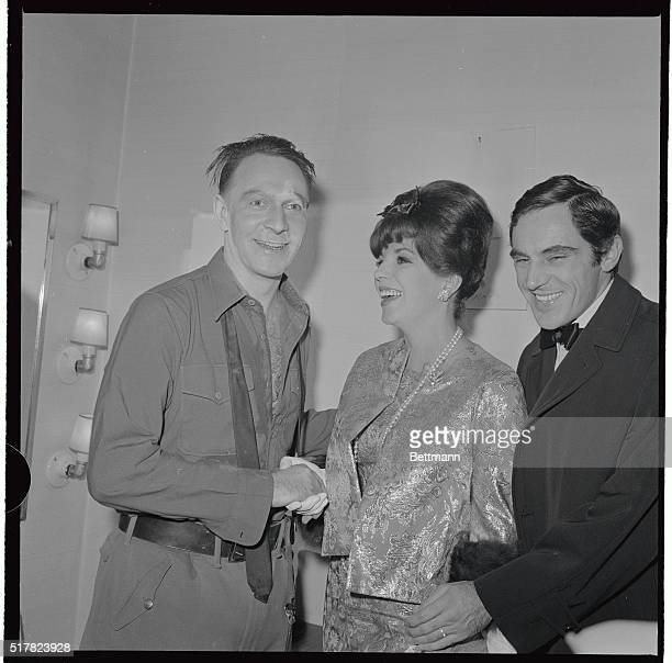 Canadian actor Christopher Plummer star of the new david Merrick production Arturo UI is visited in his dressing room after the first performance by...