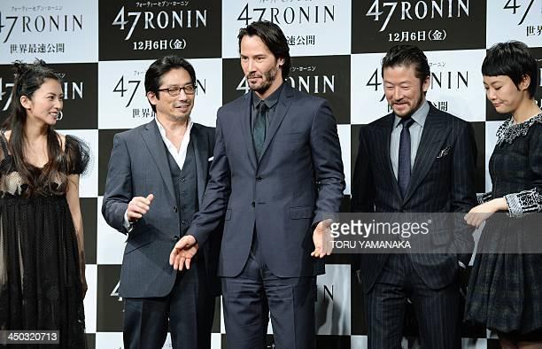 Canadian actor Keanu Reeves shares a light moment with Japanese actress Ko Shibasaki actor Hiroyuki Sanada Tadanobu Asano and actress Rinko Kikuchi...