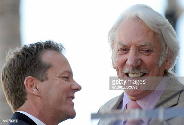 Canadian actor Kiefer Sutherland hugs his father actor Donald Sutherland after being honored with the 2377th Star on the Hollywood Walk of Fame...