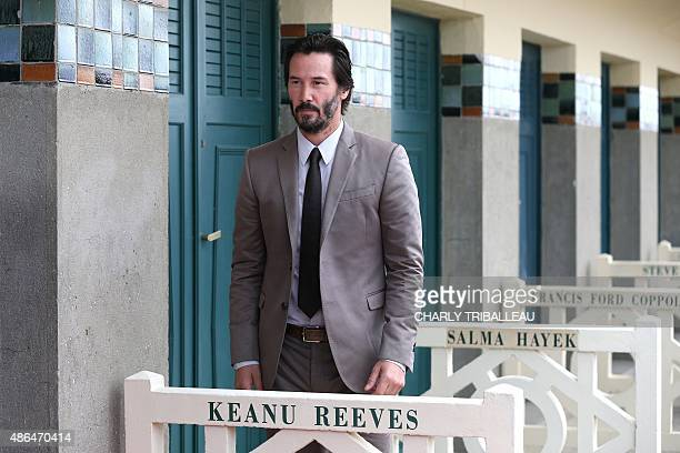 Canadian actor producer director and musician Keanu Reeves unveils his dedicated beach locker room on the Promenade des Planches on September 4 2015...