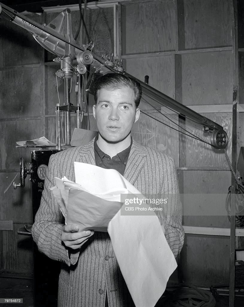 Canadian actor William Shatner consults a script during the filming on an episode of the television anthology series 'The Alfred Hitchcock Hour'...