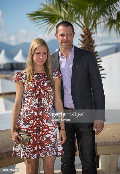 Canadian actress Brooke Nevin and actor David Sutcliffe pose during the photocall of the Tv series 'Craked' at Hotel Majestic on October 8 2013 in...
