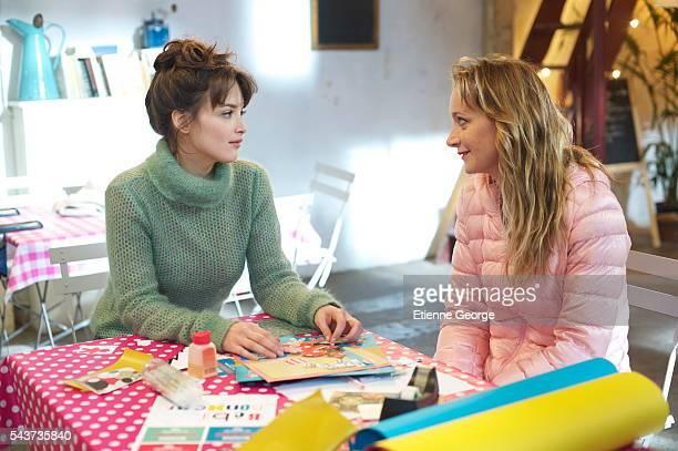 Canadian actress Charlotte Le Bon and French actress Julie Ferrier on the set of La Stratégie de la Poussette written and directed by Clément Michel