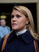 Canadian actress Genevieve Sabourin accused of stalking actor Alec Baldwin talks to the media outside Manhattan Criminal Court November 12 2013 in...