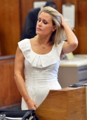 Canadian actress Genevieve Sabourin attends Manhattan Criminal Court in New York on July 26 2012 The 40yearold actress who is accused of stalking...