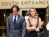 Canadian actress Genevieve Sabourin leaves with lawyer Maurice Sercarz from Manhattan Criminal Court in New York on May 14 2012 The 40 yearold...