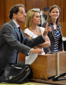 Canadian actress Genevieve Sabourin with lawyer Maurice Sercarz and unidentified lawyer on July 26 2012 appear in Manhattan Criminal Court in New...