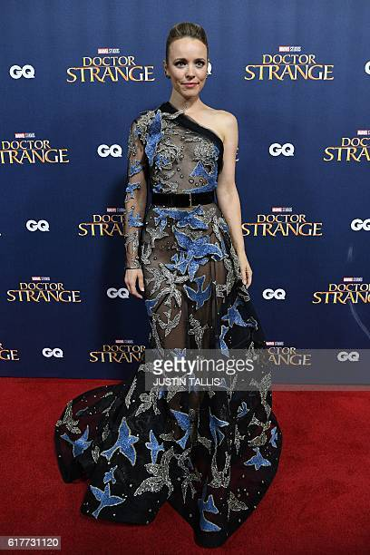 Canadian actress Rachel McAdams poses for photographers upon arrival at a launch event for the film 'Doctor Strange' at Westminster Abbey in central...