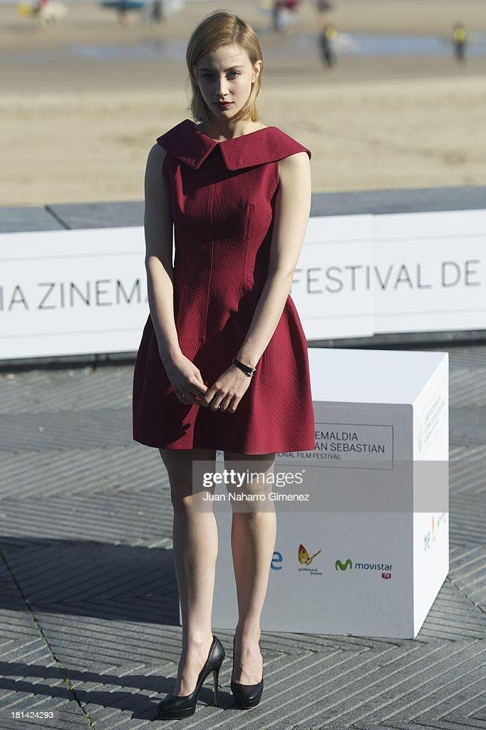 Canadian actress Sarah Gadon attends 'Enemy' photocall at Kursaal on September 21, 2013 in San Sebastian, Spain.
