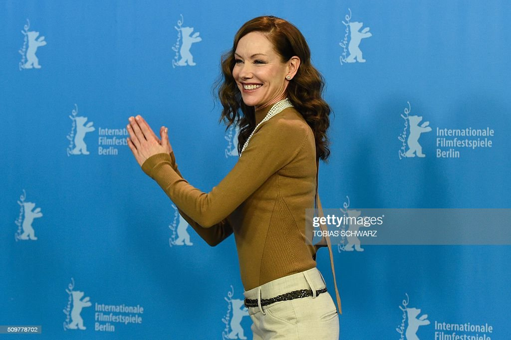 Canadian actress Simone-Elise Girard poses during a photo call of the film 'Boris sans Beatrice | Boris without Beatrice' by Canadian director Denis Cote in competition at the 66th Berlinale Film Festival in Berlin on February 12, 2016. / AFP / TOBIAS SCHWARZ