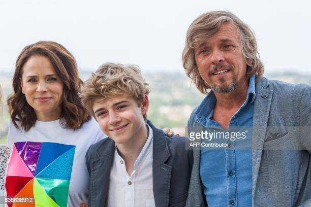 Canadian actress Suzanne Clement French actor Igor Van Dessel and French actor Pascal Demolon pose during a photocall for the film 'Le rire de ma...