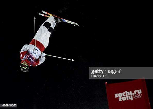 Canadian Alex Bilodeau jumps during the Ski freestyle moguls training at the Extreme Park at Rosa Khutor Mountain ahead of the Sochi 2014 Winter...