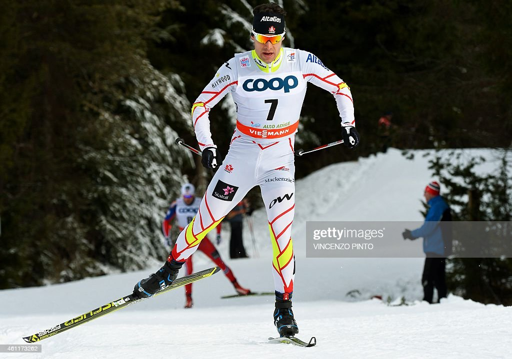 Canadian <a gi-track='captionPersonalityLinkClicked' href=/galleries/search?phrase=Alex+Harvey+-+Skier&family=editorial&specificpeople=6719953 ng-click='$event.stopPropagation()'>Alex Harvey</a> competes during the Men's 25 km free pursuit competition of the 'Tour de Ski' Cross Country World Cup on January 8, 2015 in the Italian Alpine resort of Toblach. Petter Jr Northug won the race ahead of Swedish Calle Halfvarsson and compatriot Martin Johnsrud Sundby.