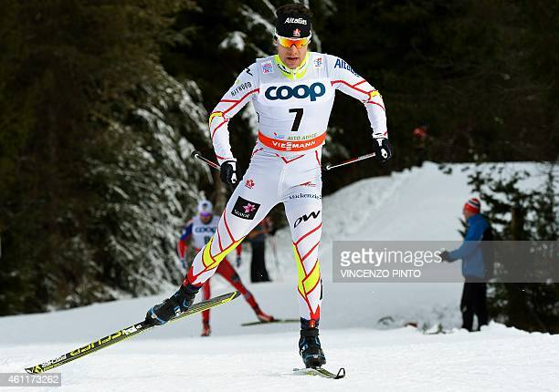 Canadian Alex Harvey competes during the Men's 25 km free pursuit competition of the 'Tour de Ski' Cross Country World Cup on January 8 2015 in the...