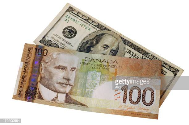 Canadian and american 100$ bills