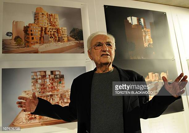 Canadian architect Frank Gehry unveils his latest structrual entity in Sydney on December 16 2010 Gehry said the 150 million USD business school at...