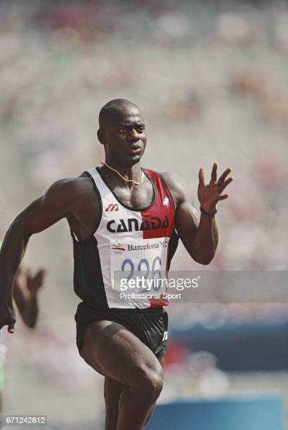 Canadian athlete Ben Johnson competes in the heats before finishing in 8th place in heat 1 of the semifinals of the Men's 100 metres event at the...