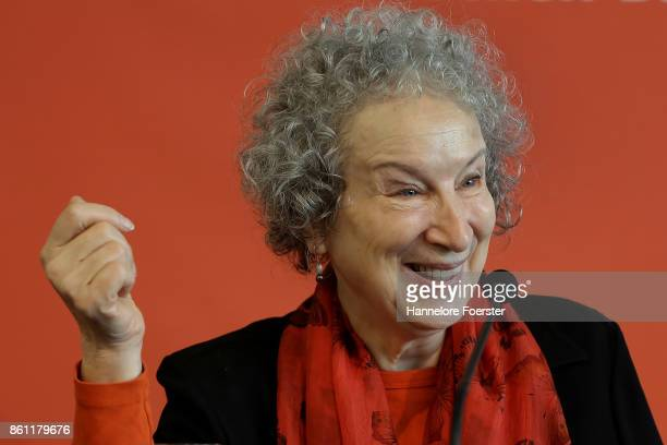 Canadian author Margaret Atwood attends the Peace prize of the german Book Trade pressconference during the Franfurter Book fair 2017 on October 14...