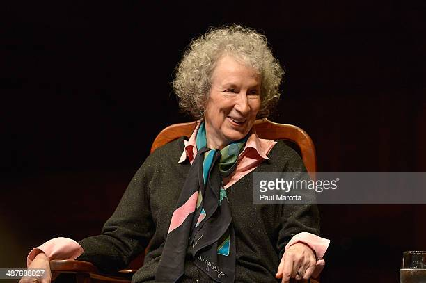 Canadian Author Margaret Atwood receives the 2014 Harvard Arts Medal at Harvard University on May 1 2014 in Cambridge Massachusetts