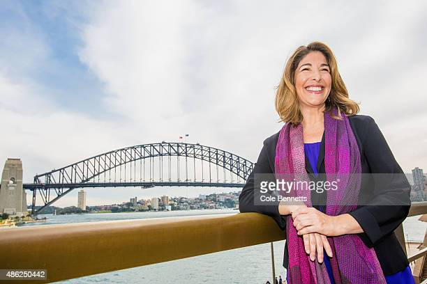 Canadian author Naomi Klein poses for a photograph back dropped by the Sydney Harbour Bridge at a press conference ahead of the seventh annual...