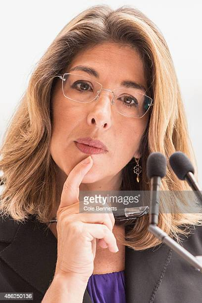 Canadian author Naomi Klein talks to the media at a press conference ahead of the seventh annual Festival of Dangerous Ideas at Sydney Opera House on...