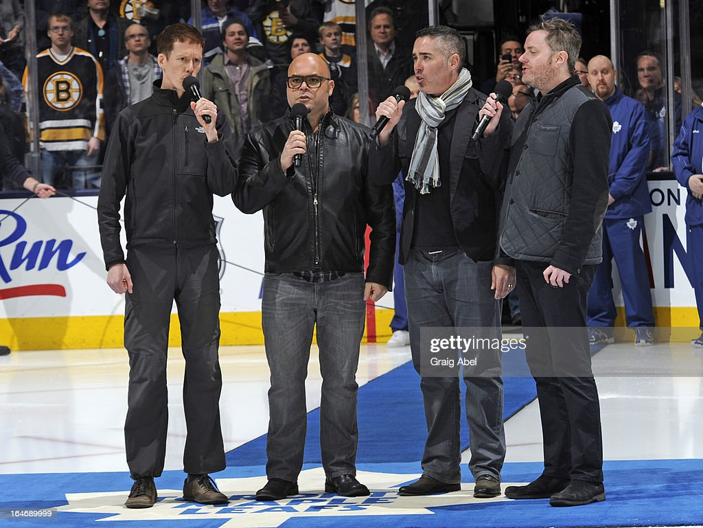 Canadian band Barenaked Ladies perform the national anthems prior to NHL game action between the Toronto Maple Leafs and the Boston Bruins March 23, 2013 at the Air Canada Centre in Toronto, Ontario, Canada.