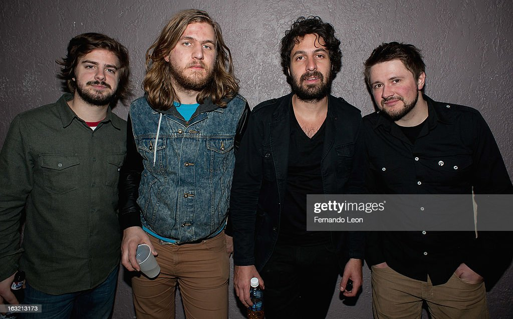 Canadian band Krief,drummer Dennis Paquin, guitarist Vincent Pelletier, lead singer/guitarist/producer Patrick Krief and bassist Jakub Zapotoczmy pictured backstage during the Friends of JJ's benefit concert at Uptown Theater on March 5, 2013 in Kansas City, MO.