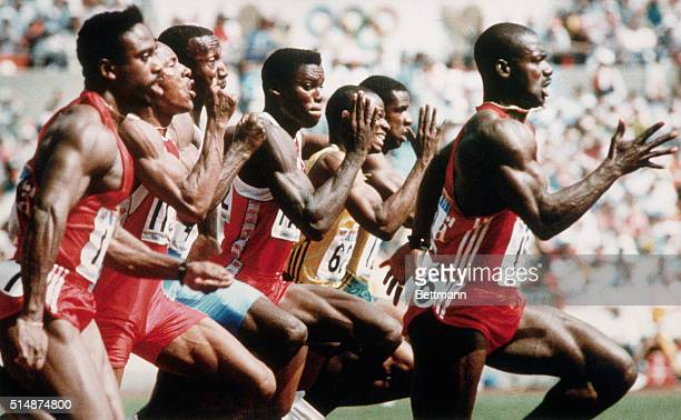 Canadian Ben Johnson breaks from the pack during the 100 meter race of the 1988 Olympic Games in Seoul Johnson set a worldrecord and was awarded the...