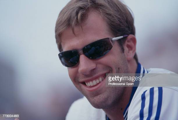 Canadian born British professional tennis player Greg Rusedski of the Great Britain team pictured during competition to reach the third round of the...