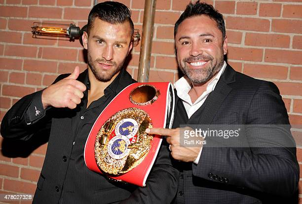 Canadian Boxer David Lemieux and Oscar de la Hoya celebrate his new middleweight championship on June 20 2015 in Montreal Canada