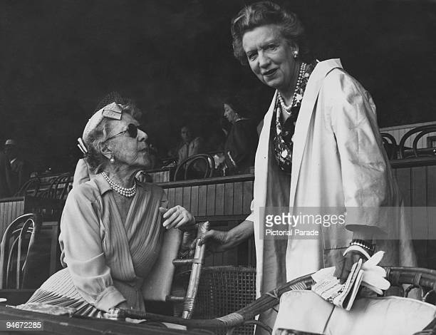 Canadian businesswoman Elizabeth Arden with Mrs C Oliver Iselin at Saratoga Race Course Saratoga Springs New York State circa 1940 Arden's Maine...