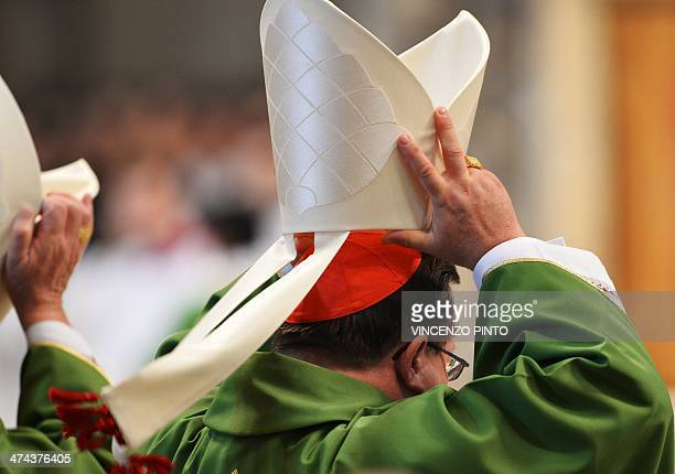 Canadian cardinal Gerald Cyprien Lacroix adjusts his mitre during the holy mass presided by pope Francis in St Peter's basilica at the Vatican on...