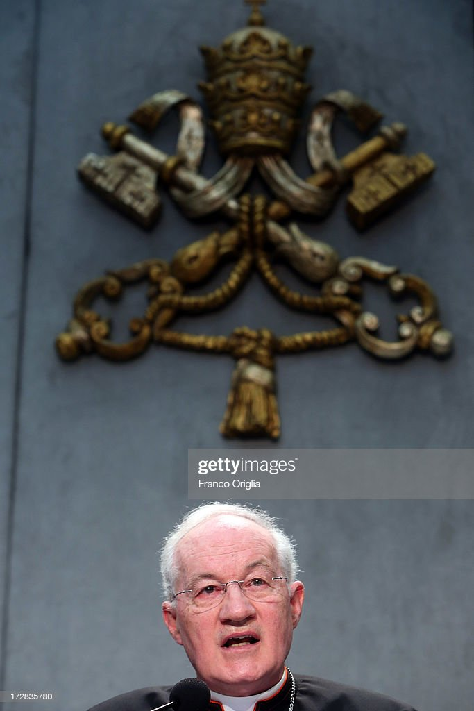 Canadian Cardinal <a gi-track='captionPersonalityLinkClicked' href=/galleries/search?phrase=Marc+Ouellet&family=editorial&specificpeople=3145328 ng-click='$event.stopPropagation()'>Marc Ouellet</a>, prefect of the Congregation for the Doctrine of the Faith attends a press conference at the Holy See Press Office for the presentation of Pope Francis' first encyclical, entitled 'Lumen Fidei' (The Light of Faith) on July 5, 2013 in Vatican City, Vatican. The document continues many of Benedict's favourite themes, from the complementarity of faith and reason, to the joy of a personal encounter with Christ. Firmly situated in the Year of Faith, it's also set in the context of the 50th anniversary of the Second Vatican Council, which re-established the central role of Faith at the heart of all human relationships.