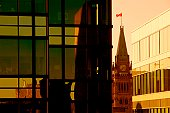 Canadian cities, downtown corporate view of Ottawa's Peace Tower, Canada.