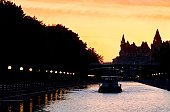 Canadian Cities, House boat on evening cruise, Rideau Canal, Ottawa Canada.