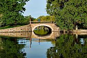 Canadian cities, old stone bridge over Rideau Canal, Ottawa Canada.