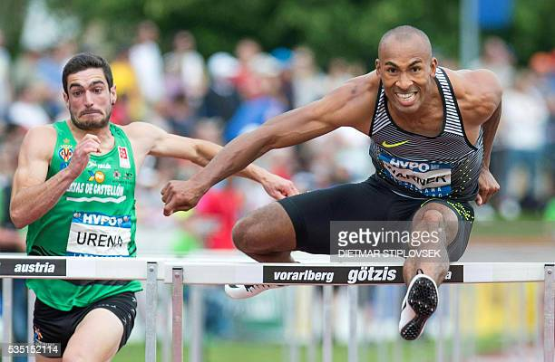 Canadian Damian Warner and Spanish Jorge Urena compete during the 110 metres hurdles on May 29 2016 as part of the 42nd HypoMeeting in Gotzis / AFP /...