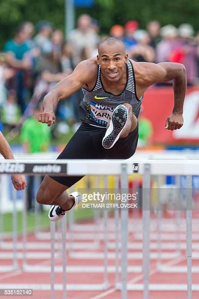 Canadian Damian Warner competes during the 110 metres hurdles on May 29 2016 as part of the 42nd HypoMeeting in Gotzis / AFP / APA / DIETMAR...