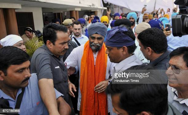 Canadian Defence Minister Harjit Singh Sajjan welcoming the villagers during his visit on his ancestral village Bombeli on April 20 2017 in...