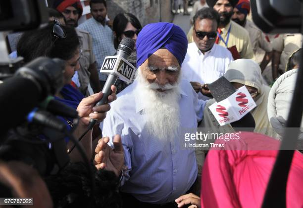 Canadian Defence Minister Harjit Singh Sajjans Father Kundan singh managed the crowd to enter their own house during the Hrjit singh visit at...
