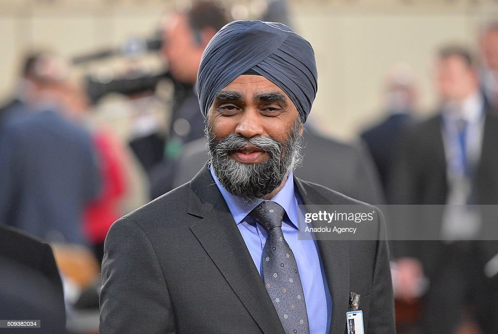 Canadian Defense Minister Harjit Singh Sajjan is seen prior to the start of a NATO Defence Ministers meeting at the NATO headquarter in Brussels, Belgium on February 10, 2016.