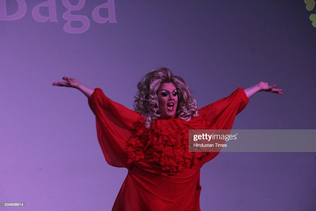 Canadian drag queen Rita Baga performs during the opening ceremony of the 7th Kashish Mumbai International Queer Film Festival inaugurated by Hollywood actor Ian McKellen, at Liberty Cinema, Marine Lines, on May 25, 2016 in Mumbai, India. During a ceremony, McKellen said, 'I just want to say how happy I am to be at Kashish; it's my first visit to Mumbai. I made many friends already and I hope this evening to make many more. I've come to Mumbai to celebrate Shakespeare and to celebrate the connections between the United Kingdom and your country. And I've also come to support those who want to get rid of section 377 (which criminalizes homosexuality).'