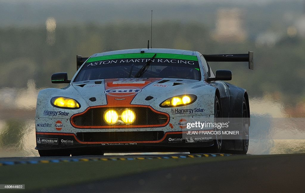 Canadian driver Paul Dalla Lana in his Aston Martin Vantage V 8 N° 98 competes during the 82nd Le Mans 24 hours endurance race, on June 15, 2014 in Le Mans, western France. Fifty-six cars with 168 drivers are participating on June 14 and 15 in the Le Mans 24-hours endurance race.