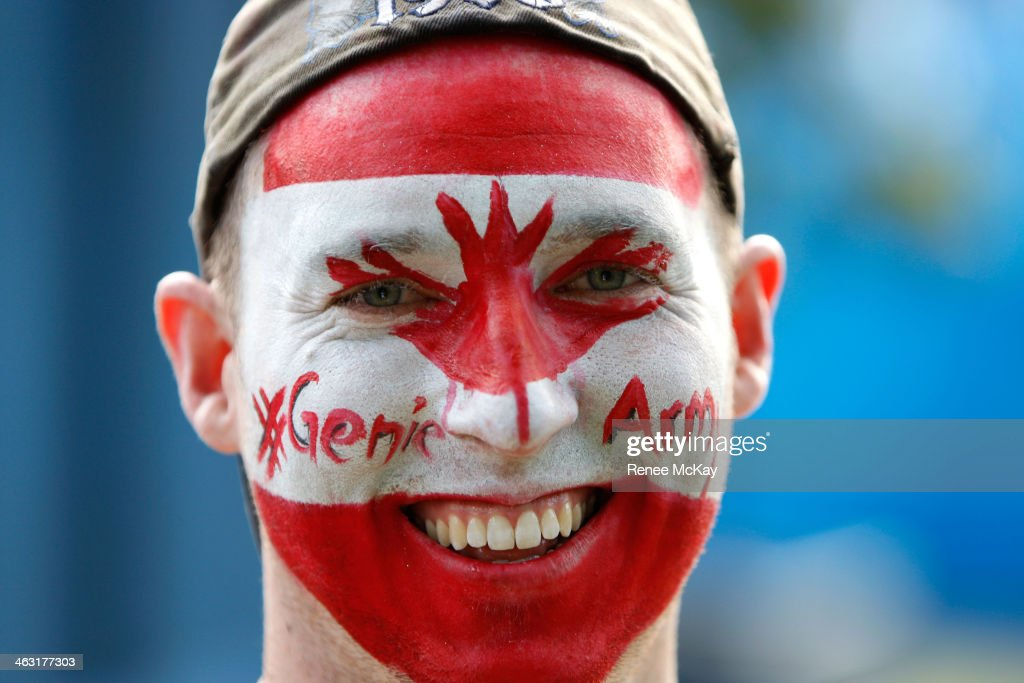 A Canadian fan supports Eugenie Bouchard of Canada during day five of the 2014 Australian Open at Melbourne Park on January 17, 2014 in Melbourne, Australia.
