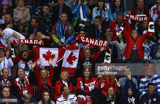 Canadian fans cheer during the Ice Hockey Women's Gold Medal Game between Canada and the United States on day 13 of the Sochi 2014 Winter Olympics at...