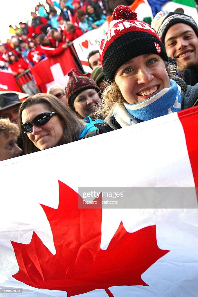 Canadian fans during the final run of the men's luge singles final on day 3 of the 2010 Winter Olympics at Whistler Sliding Centre on February 14, 2010 in Whistler, Canada.