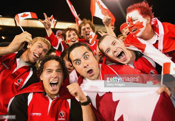 Canadian fans show their colours during the Rugby World Cup Pool D match between Italy and Canada at Canberra Stadium October 21 2003 in Canberra...