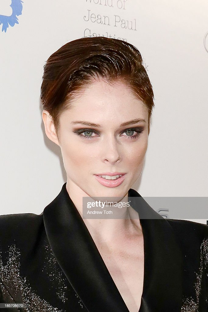 Canadian fashion model <a gi-track='captionPersonalityLinkClicked' href=/galleries/search?phrase=Coco+Rocha&family=editorial&specificpeople=4172514 ng-click='$event.stopPropagation()'>Coco Rocha</a> attends the VIP reception and viewing for The Fashion World of Jean Paul Gaultier: From the Sidewalk to the Catwalk at the Brooklyn Museum on October 23, 2013 in the Brooklyn borough of New York City.