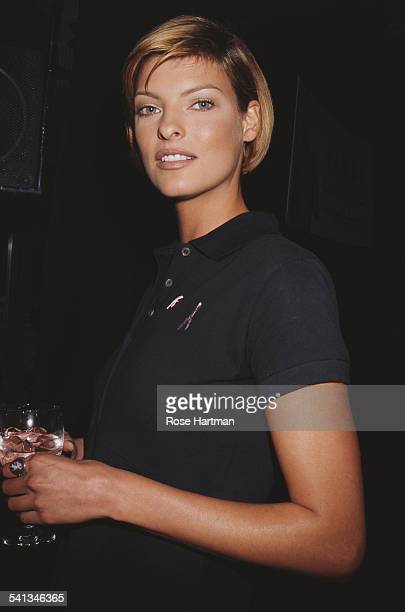 Canadian fashion model Linda Evangelista at a benefit for breast cancer awareness and research 1996